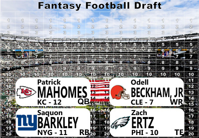 2019 Fantasy Football Draft Kit - Player Labels - Full Color Board