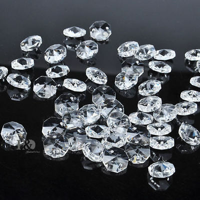 20 PCS  Crystal Glass Chandelier Part Prisms Octagonal Beads Decor 14MM IO