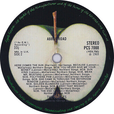 The Beatles. Abbey Road. Repro record label sticker. 99mm
