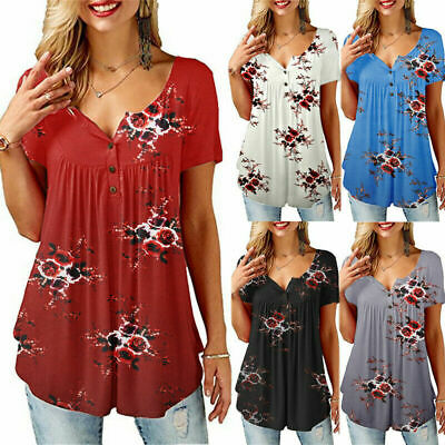 Summer Womens Floral Tops Blouse Ladies Short Sleeve Buttons T-Shirt Size 10-18