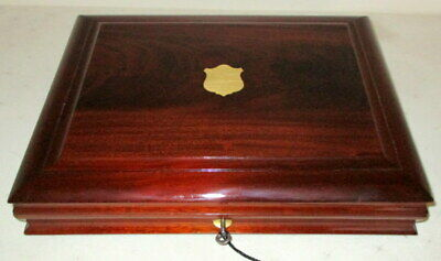LOVELY USEFUL VICTORIAN MAHOGANY & BRASS TABLE TOP BOX with tray & key