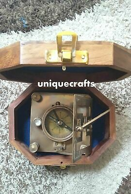 Antique Brass square Sundial Compass With Wooden Box Item