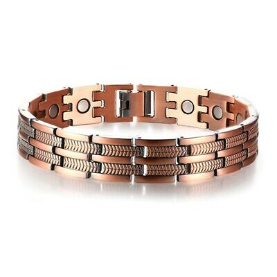 Mens Elegant Pure Copper Magnetic Therapy Link Bracelet Pain Relief for Art K5O1