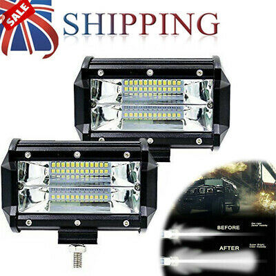 2X 72W LED Work Light Flood Square Spot 12V 24V Off Road Truck 4x4 Boat SUV Lamp