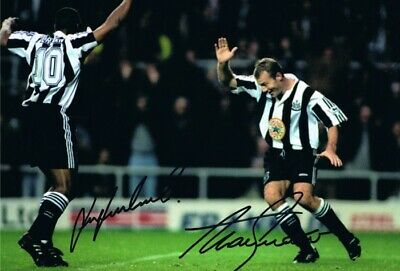 Signed Alan Shearer Les Ferdinand Newcastle Autograph Photo Entertainers Proof