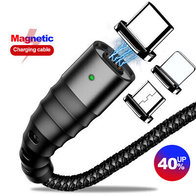 Fast LED Magnetic Charger Micro USB 3A Charging Data Cable For IOS Android TypeC