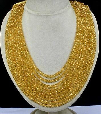 Fine Natural Yellow Citrine Beads Faceted Round 9 Line 920 Cts Gemstone Necklace