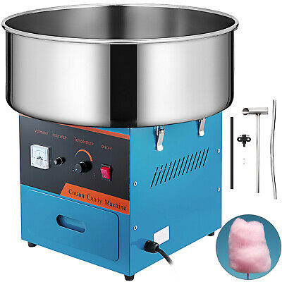 "21"" Cotton Candy Machine Aluminum Sugar Head Stepless Temp Stainless Steel Bowl"