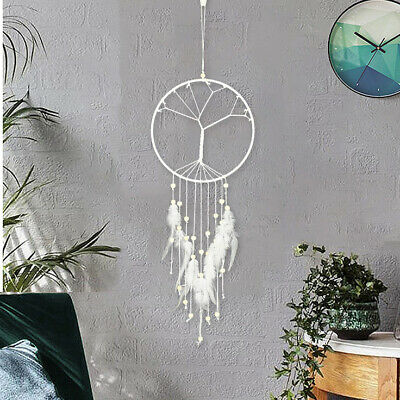 Large White Tree Feather Tassel Dream Catcher Home Decor Beads Ornament Hanging