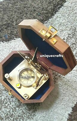 Brass square Sundial Compass With Wooden Box Collectible Item
