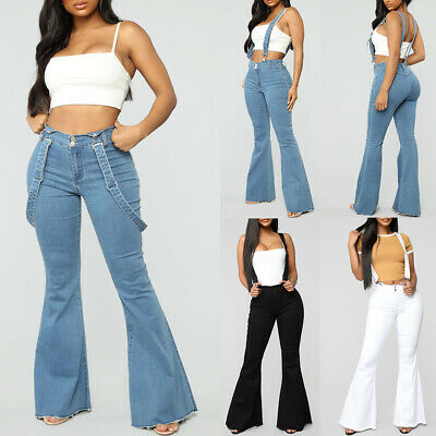 Womens Flared Denim Dungarees Overalls Ladies Skinny Casual Jeans Trousers Pants