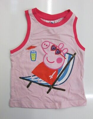 PEPPA PIG Infant Girls Pink Graphic Vest Top T-Shirt 2 Years BNWOT