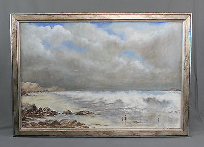 Vintage Oil Painting Figural Coastal Seascape The Red Swimsuit