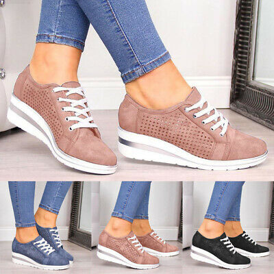 Womens Breathable Wedge Heel Trainers Ladies Lace Up Sneakers Casual Comfy Shoes