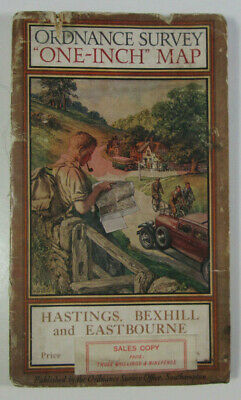 1928 OS Ordnance Survey One-Inch Special Popular Map Hastings Bexhill Eastbourne