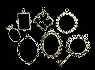 Vintage Oval Jewelry Frame DIY Resin Craft Accessories Square Round Metal Hollow