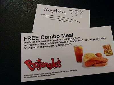(1) Bojangle's Combo Meal Voucher+1 Mystery Combo Meal Voucher (No Expiration)