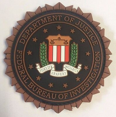 DOJ FBI Federal Bureau of Investigation Fabric Fastened 3D PVC Blue Patch 2.875""