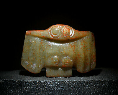 Rare Chinese Ancient Hongshan Culture Jade Carved Eagle Shaped Amulet Pendant