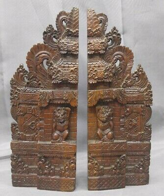 Old Vintage Hand Carved Asian Hindu Temple Bookends Wood Carvings