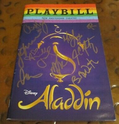 Disneys Aladdin Broadway Play Playbill current cast signed autographed Gay Pride