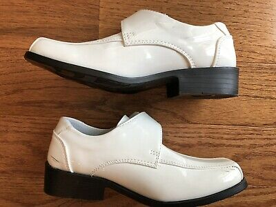 Boys white communion shoes baptism party loafer slip on 5-12 toddler  13-8 youth