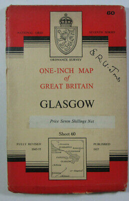 1957 Old Vintage OS Ordnance Survey One-inch Seventh Series CLOTH Map 60 Glasgow