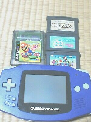 Nintendo Game Boy Advance Violet + Mario Soft 4Lot Set Excellent Condition F/S