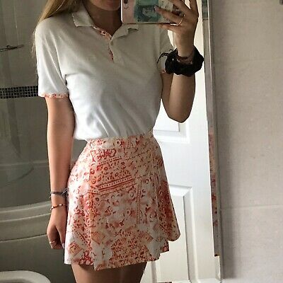 Vintage Cute Peach Ladies Tennis Skirt+polo Top Outfit Size 10