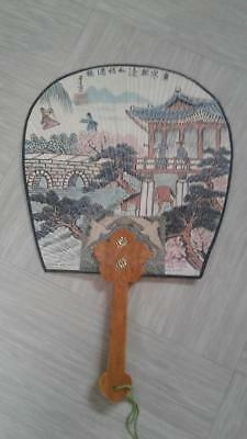vintage oriental paper hand fan with wooden handle made Korea