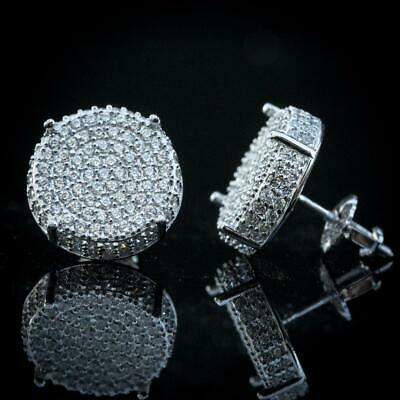 Mens Large Round Micro Pave Iced 925 Sterling Silver CZ Hip Hop Stud Earrings
