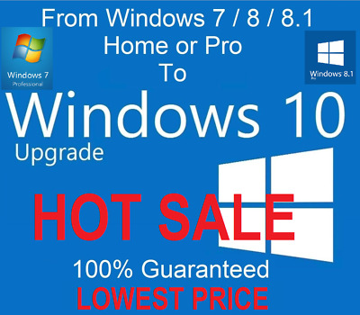 Upgrade from Windows 7, 8, 8.1 to Windows 10 Guaranteed to Work Lowest Price