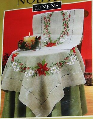 """NEW Nob Hill """"POINSETTIA WREATH""""  Table Runner Embroidery Kit"""