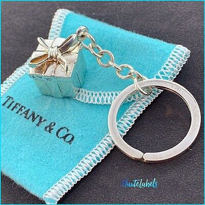 """TIFFANY & Co. Sterling Silver 925 """"Tiffany Gift Box Keychain"""" COLLECTABLE"""