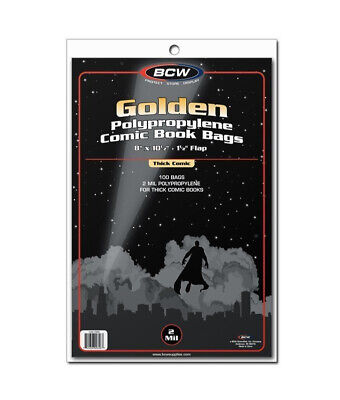 (1000) Bcw Thick Golden Age Comic Book Soft Poly Acid Free Storage Bag Holders