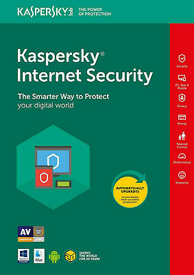 Kaspersky Internet Security 2019 3 PC ,1 AÑO, Download, Full Version,Mac,Android