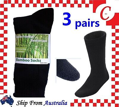 3Pr 90%BAMBOO SOCKS Men's Heavy Duty Premium Thick Work BLACK Bulk New Size 6-11