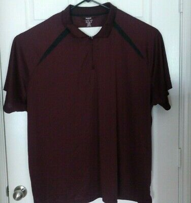 Reebok Golf Dri Fitted Short Sleeve Shirt Maroon Polo 5XL