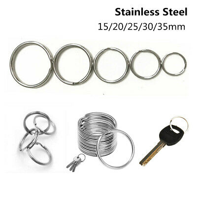 Stainless Steel Split Key Ring Round Wire Keychain Jump Rings Keyfob 15-35mm