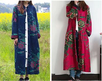 Retro Women Trench Coat Cardigan Print Floral Long Jacket Cotton Linen Maxi Coat