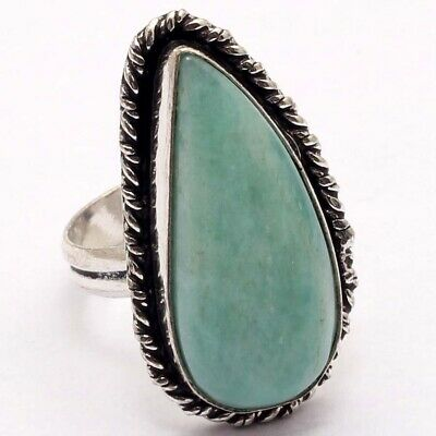 ZG5215 Amazonite & 925 Silver Plated Handmade Ring US 8