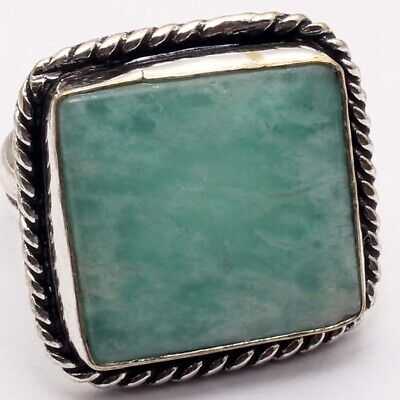 ZG4897 Amazonite & 925 Sterling Silver Plated Ring US 7