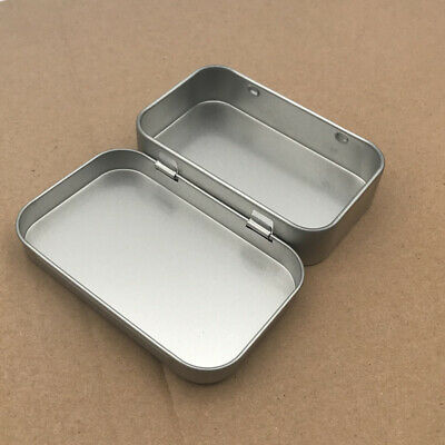 Silver Metal Rectangular Empty Hinged Tins Box Containers Small Storage Case AU