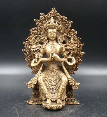 Exquisite Old Tibet Handmade Carving Statue Buddha God India Copper Brass