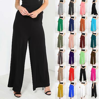 New Ladies Womens Stretchy Baggy Wide Leg Trousers Pants Flared Palazzo Leggings
