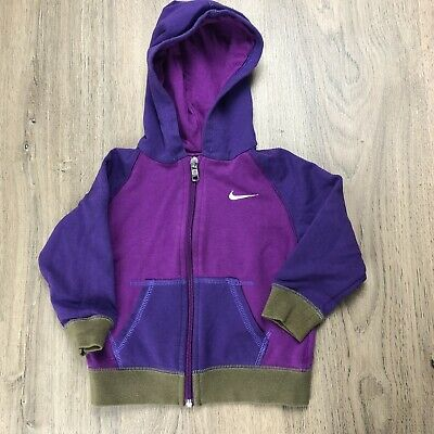 Nike Baby Hoodie Sz 9-12 Months Colour Block Purple EUC Tub L