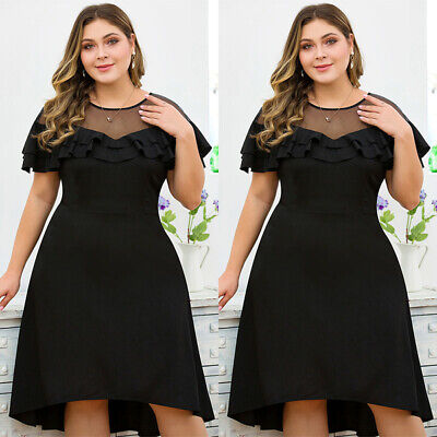 Plus Size Womens Ruffle Midi Dress Ladies Evening Cocktail Party Ball Prom Gown