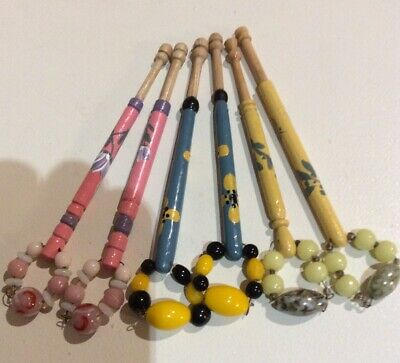 3 Prs Hand Painted Spangled Wooden Lace Bobbins - 10 Cm Without Spangle