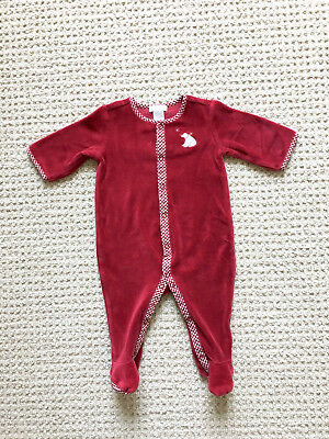 EUC Janie and Jack baby boy girl red cotton velour sleeper, gingham 0-3 months