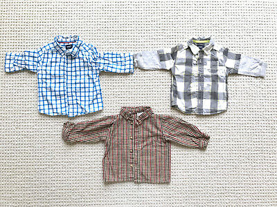 Lot of 3 baby boy button-down shirts church Easter Carter's check/plaid 9-12 mos